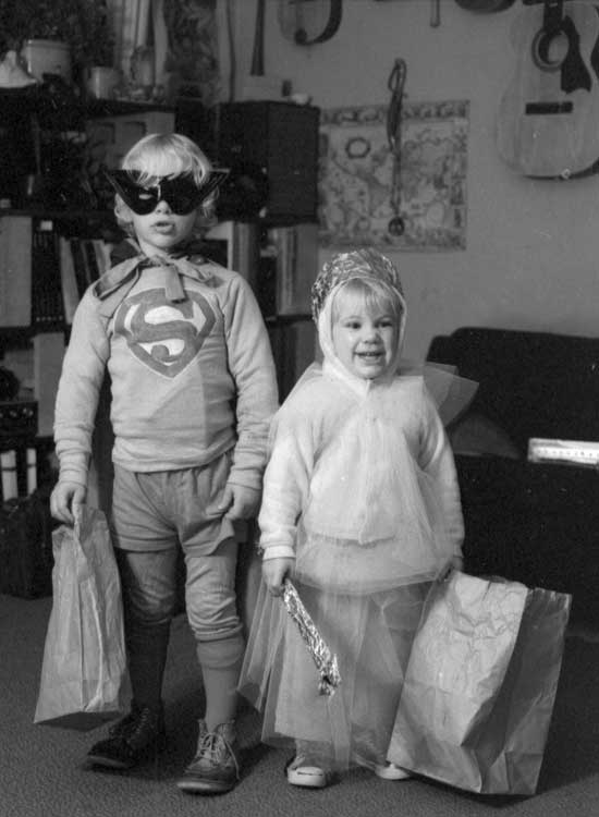 Lance as Superman and Wendy as a pink princess, Halloween 1974