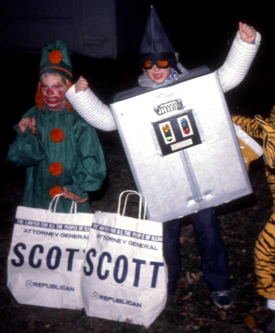 Lance as a robot and Wendy as a clown, Halloween 1976