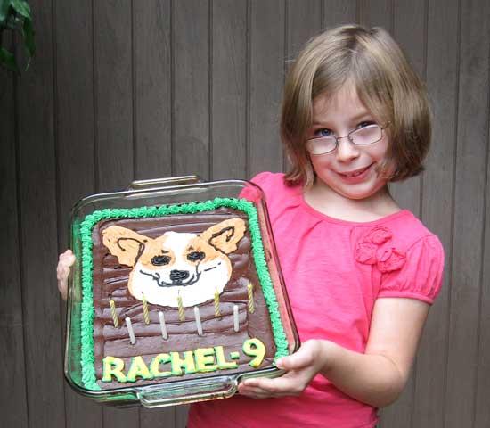 Rachel with her birthday cake