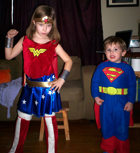 Rachel as Wonder Woman and Ben as Superman, Halloween 2008
