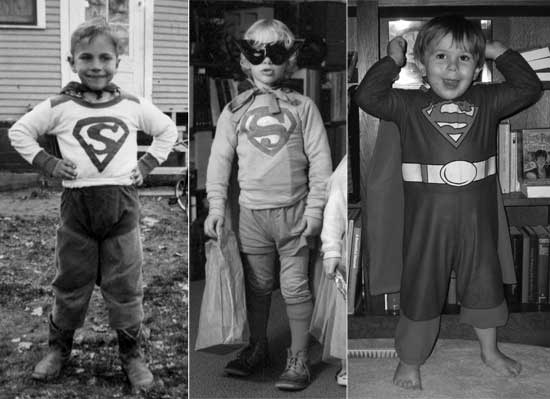 Three generations of Thorpe Supermen defending truth, justice, and the American way